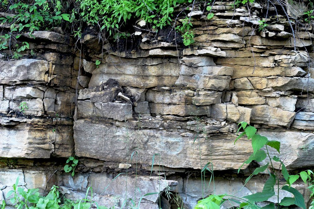 layers of sedimentary rocks