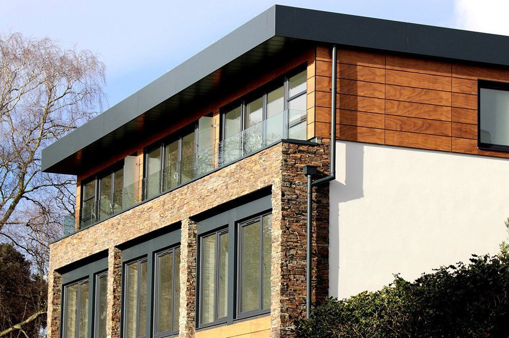 wood and stone exterior design