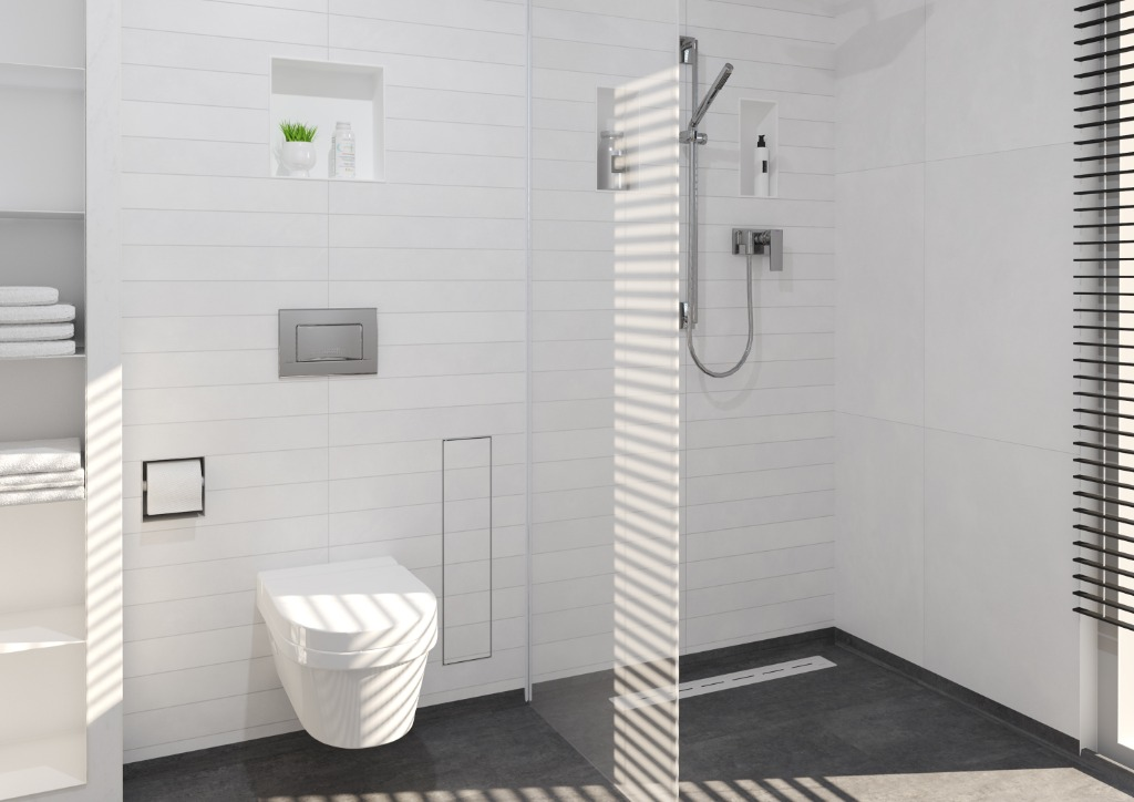 Functional and elegant wall storage solutions for bathroom accessories, creating a clean and minimalist look.