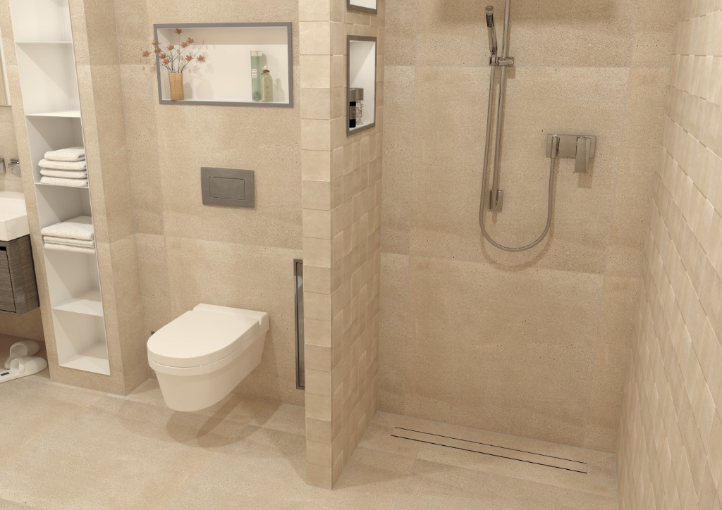 This soft neutral-coloured beige bathroom has a tranquil and relaxing effect.