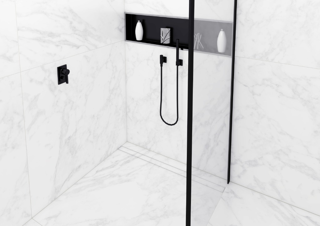 Modulo Stone – Aframeless Easy Drain linear shower drain that is suitable for any thickness of a natural stone flooring.